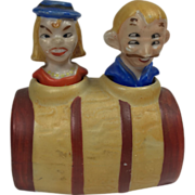Four-Eyed Man & Psycho Woman Nodder Salt & Pepper Shaker in Barrel - Matte