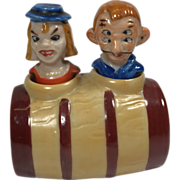Four-Eye Man & Psycho Woman Nodder Salt & Pepper Shaker in Barrel - Satin