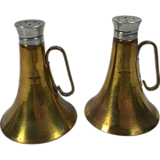 Brass Bugle or Trumpet Horn Salt & Pepper Shakers