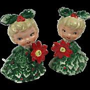 Holt Howard Christmas Holly Girls Salt & Pepper Shakers