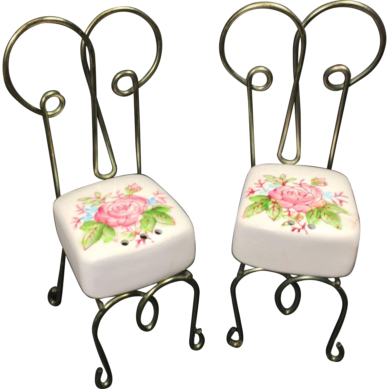 Vintage Bistro Chairs Salt & Pepper Shakers Wire Ceramic from