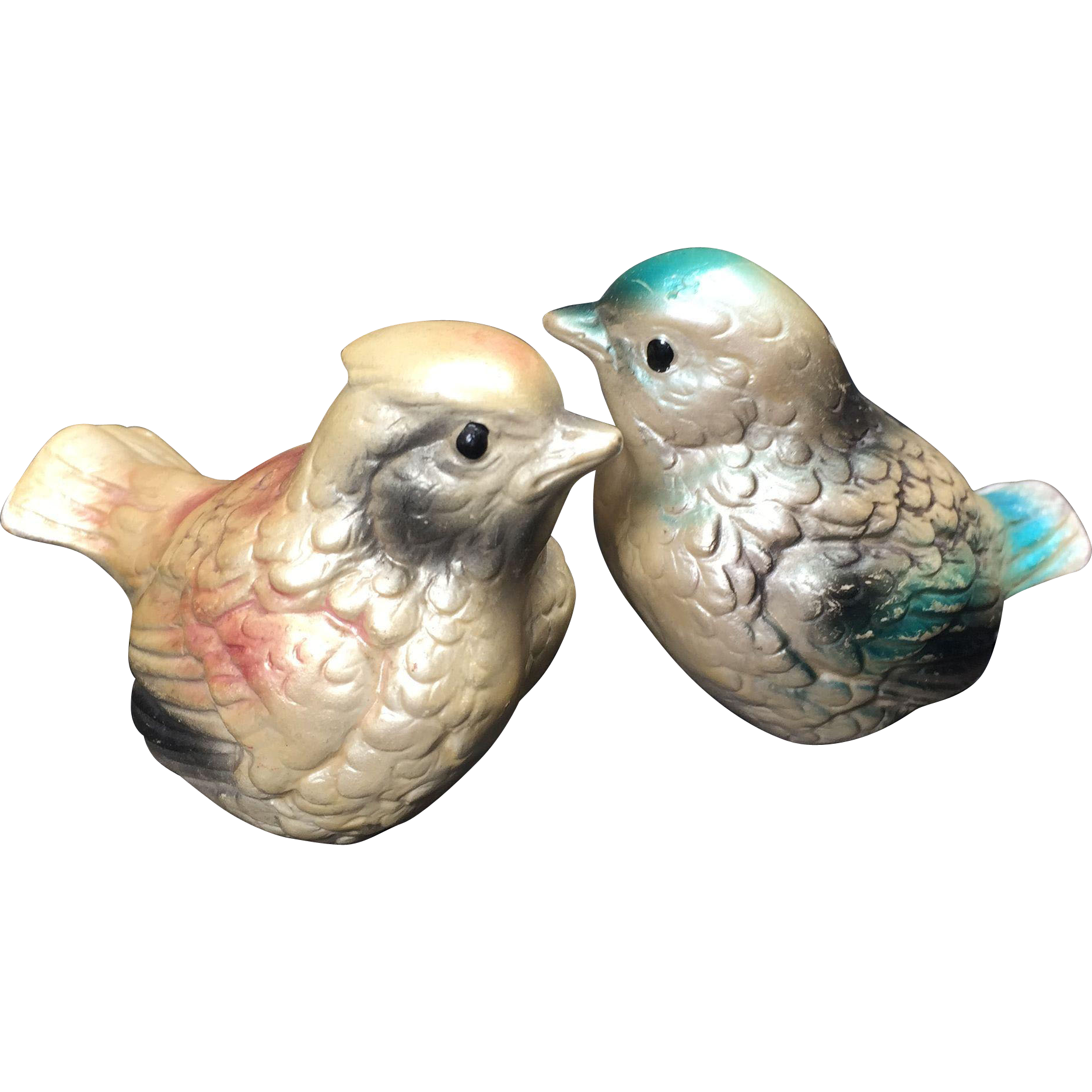 Shabby Chic Pearly Pastel Bird Salt & Pepper Shakers