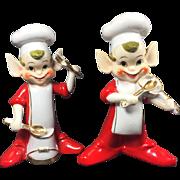 HUGE Vintage 1950's Ucagco Elf Chef Band Salt & Pepper Shakers