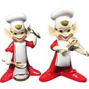 HUGE Vintage 1950's Ucagco Elf Chef Band Salt & Pepper Shakers