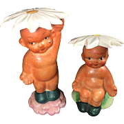 Vintage Shafford Japan Baby w Flower Hats Salt & Pepper Shakers