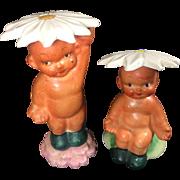 Vintage Shafford Japan Baby w Flower Hats Salt & Pepper Shakers