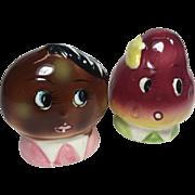 Vintage Anthropomorphic Salt Pepper Shakers Fruit Faces