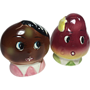Vintage Anthropomorphic Salt Pepper Shakers Fruit Faces