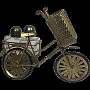 Vintage Salt & Pepper Bicycle Metal Glass Toothpick Holder