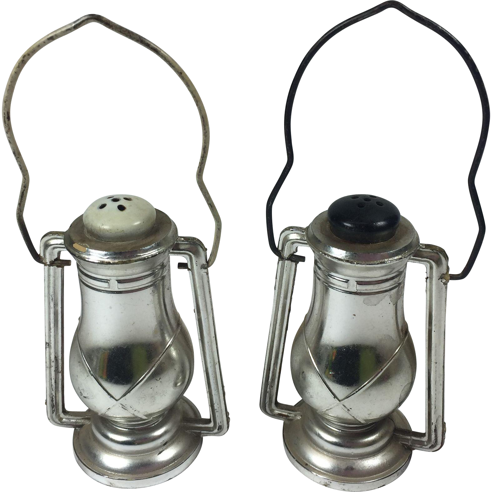 Vintage Salt & Pepper Shakers Lanterns Plastic Metal