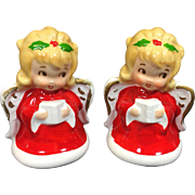 Vintage Lefton Christmas Angel Salt Pepper Shakers Mini