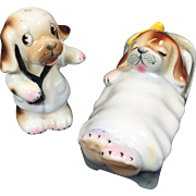 Vintage PY Salt Pepper Shakers Puppy Dog Doctor Patient