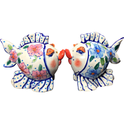 Diane Artware Kissing Caricature Fish Salt Pepper Shakers Ceramic