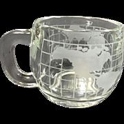 Nestle Nescafe Etched World Globe Atlas Coffee Mug Set of 6