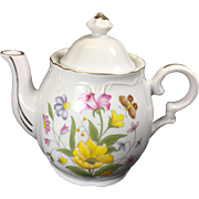 Vintage Musical Tea Pot w Spring Flowers Tea for Two