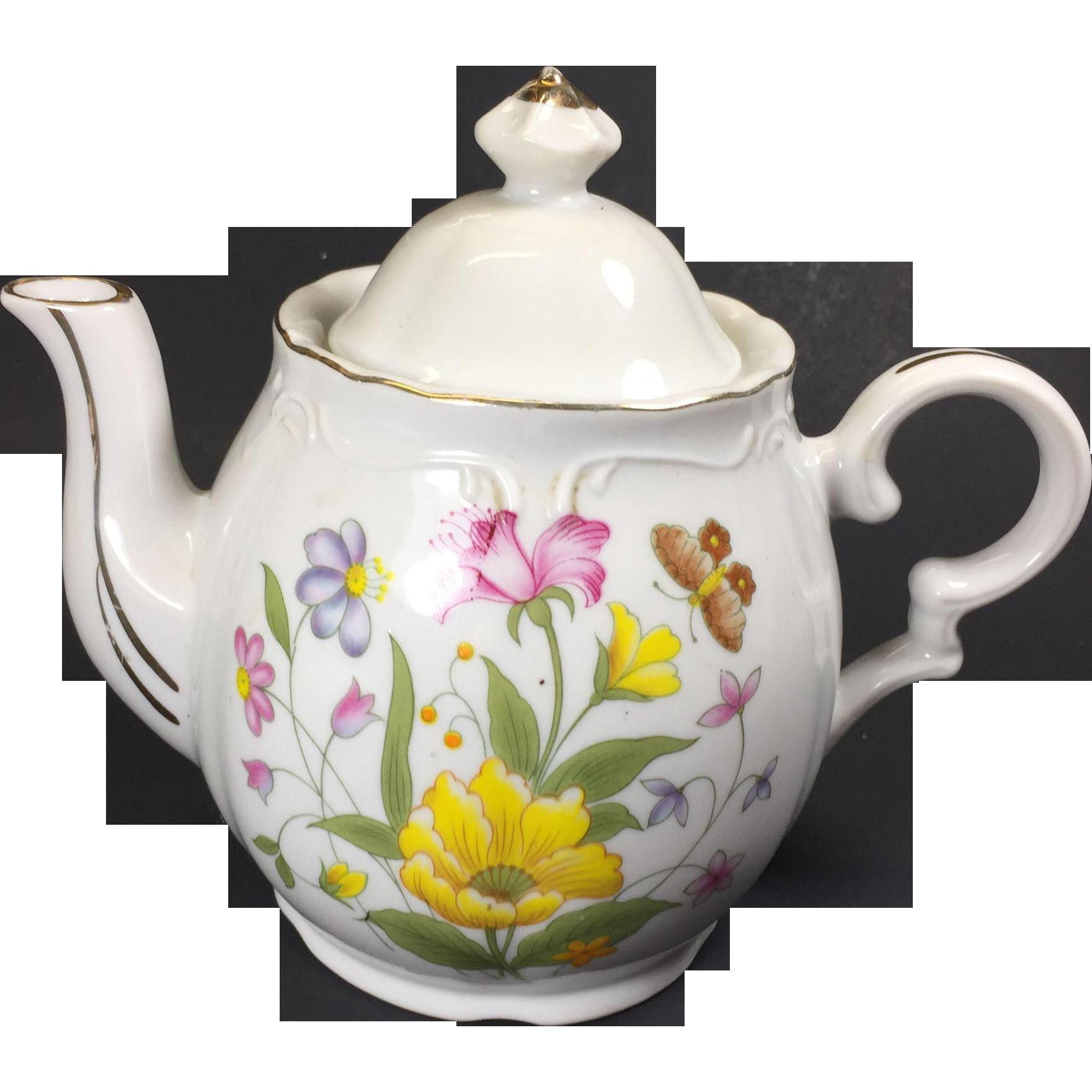 Vintage Musical Tea Pot Flowers Tea for Two