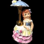 Darling Vintage Ceramic Girl w Umbrella Perfume Atomizer by DeV