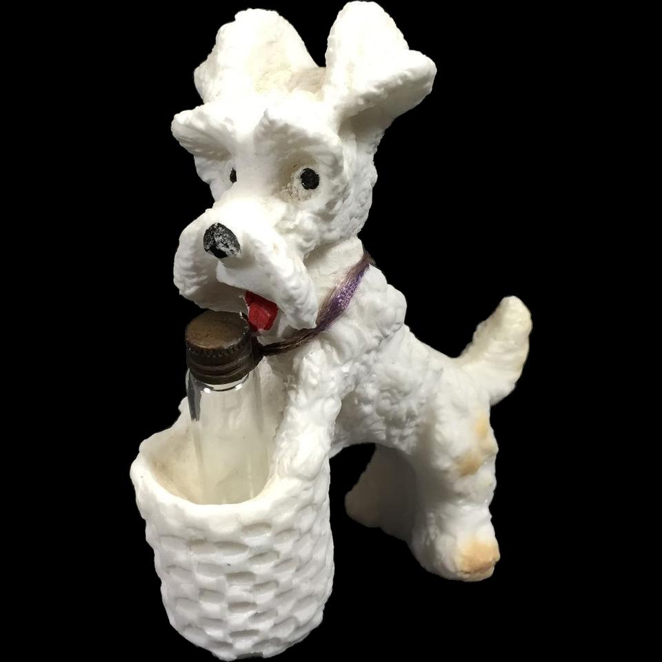 Vintage Scotty Dog Figurine Basket Holder Saltware