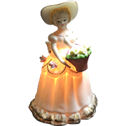 Vintage Porcelain Lady Perfume Lamp Night Light