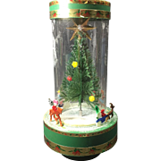 Kitschy Tacky  Retro Revolving Musical Christmas Snow Tree