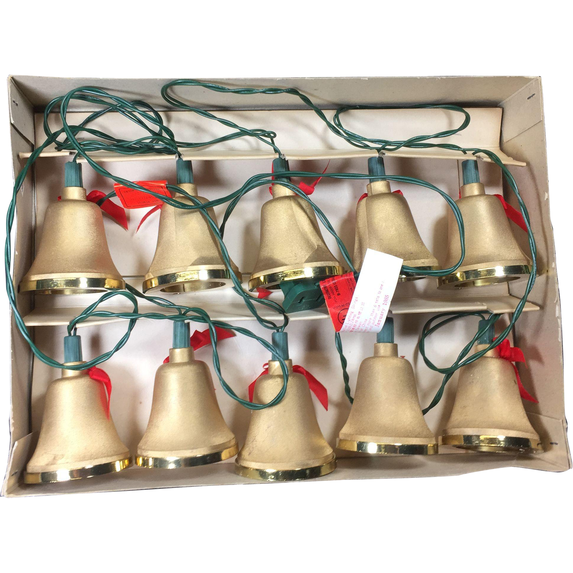 2 Boxes Vintage Christmas Tree Golden Bell Light Strings