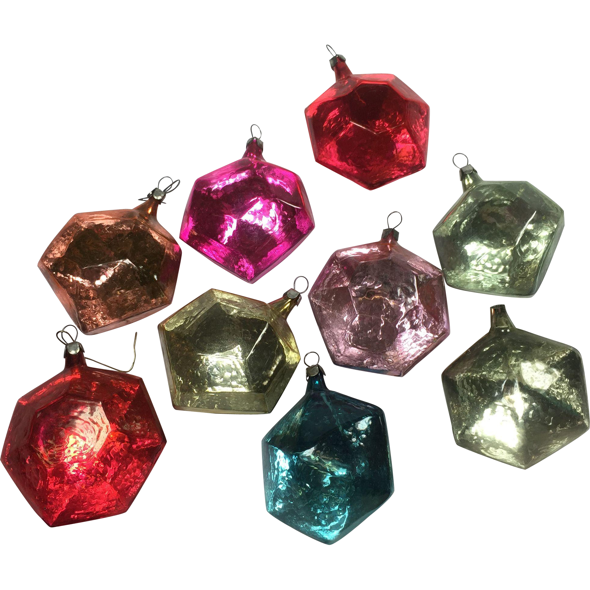 Stunning Mod Polygon Ice Cube Style Glass Ornaments