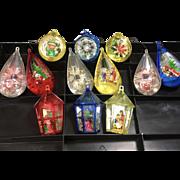 Dozen Vintage Plastic Diorama Christmas Tree Ornaments