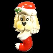 Santa Puppy Dog Ceramic Stocking Holder