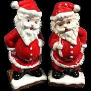 Christmas Santa Salt & Pepper Shakers w Rhinestone Eyes