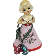 Vintage Enesco Japan Ceramic Christmas / Valentine Girl Bell