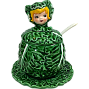 Rare Lefton Cissy Cabbage Pixie Girl Jam Jar