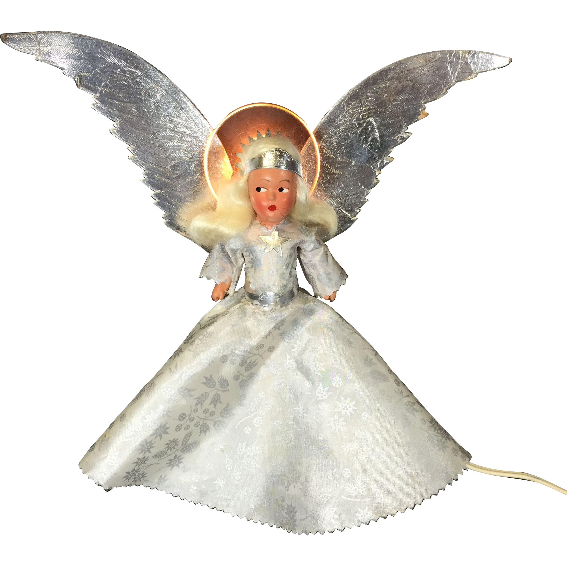 Noma Illuminated Tree Top Halo Angel Compositon Doll In