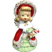 Lefton Ceramic Christmas Angel Bell w Basket of Treats