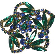 Vintage Rhinestone Brooch Weiss Green Blue