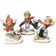 Vintage Winter Fun Boy Figurines Napco Ceramic Japan