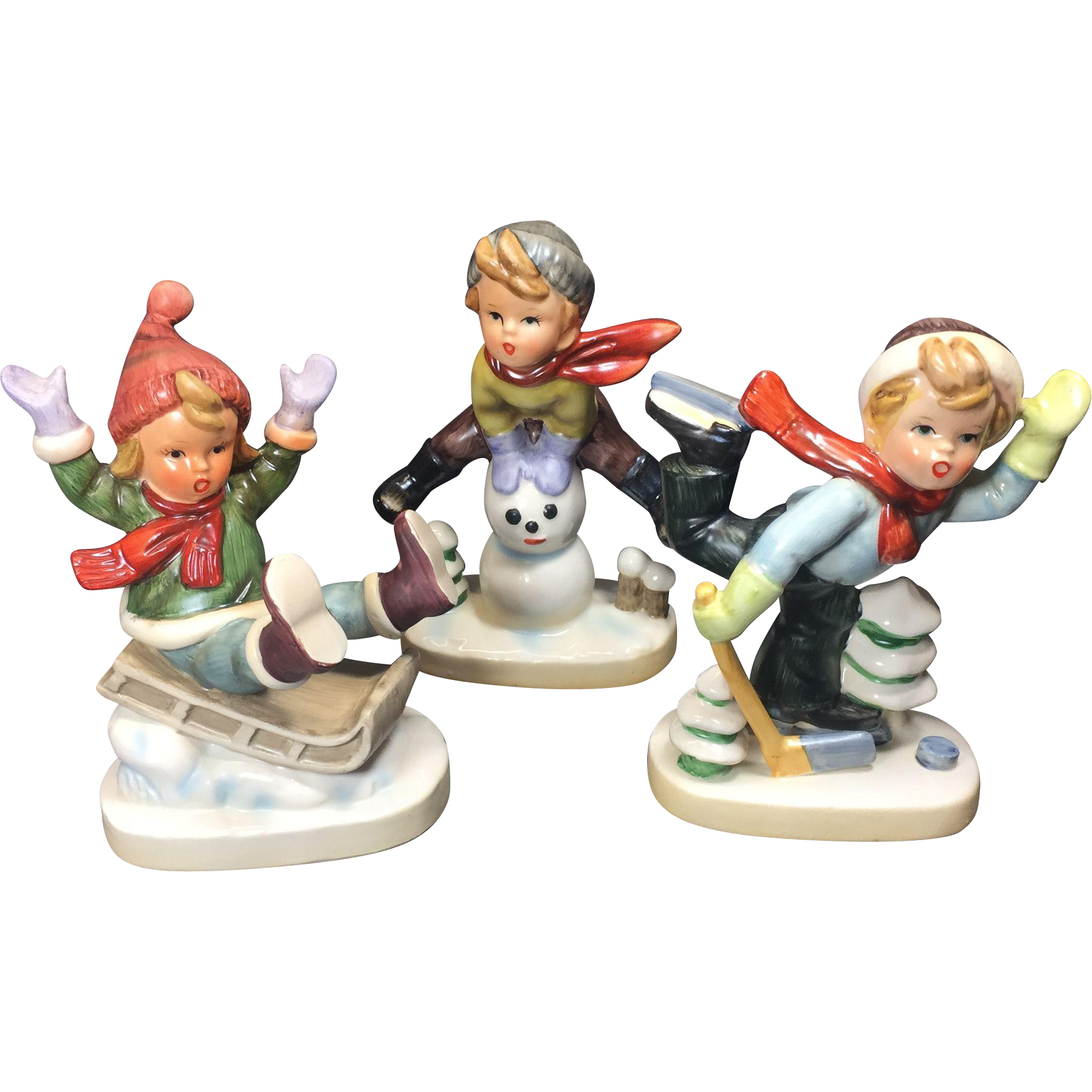 Vintage Winter Fun Boy Figurines Napco Ceramic Japan