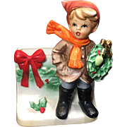Vintage Christmas Boy Planter Napco Ceramic Japan