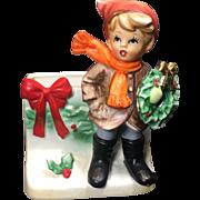 Vintage Christmas Boy Planter Napco Ceramic Japan