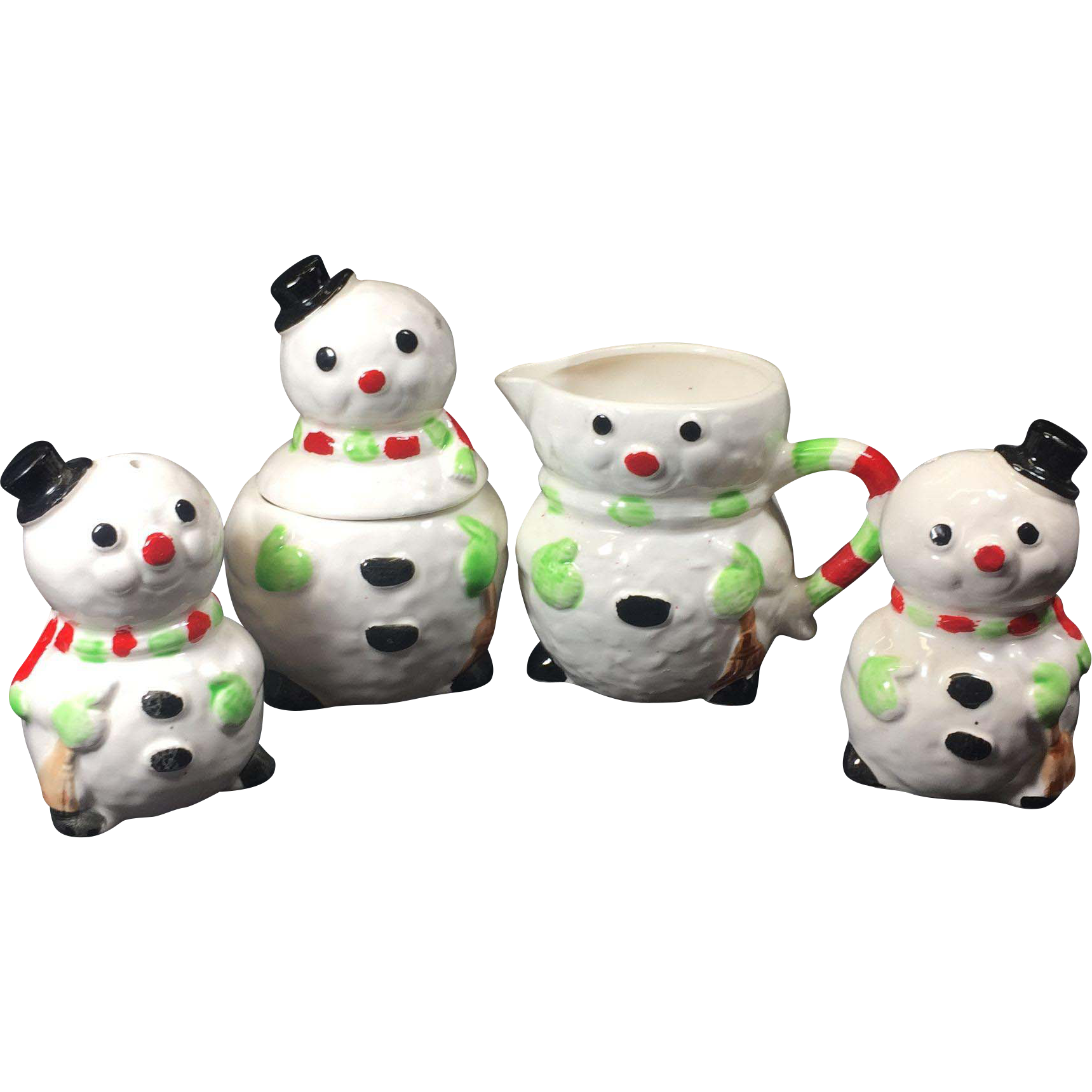 Vintage Snowman Sugar Creamer Salt Pepper Shakers Enesco Ceramic