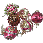 Vintage Christmas Ornaments Satin Bead Sequin Pearl Hand Crafted Pink