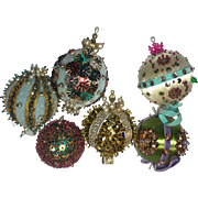 Vintage Christmas Ornaments Satin Bead Sequin Pearl Hand Crafted Blue Green Pink