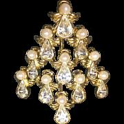 Vintage Christmas Tree Brooch Angels Rhinestone Faux Pearl