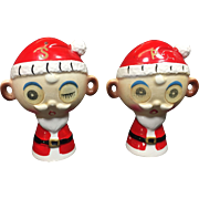 Vintage Christmas Winking Santa Salt Pepper Shakers Lenticular Eyes