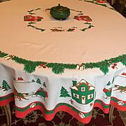 Vintage Christmas Tablecloth Round Sleigh Ride Village Scene