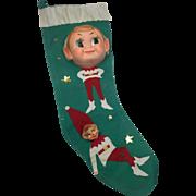 Vintage Elf Christmas Stocking Felt Vinyl Faces