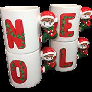 Vintage NOEL Christmas Mugs Elf Stacking