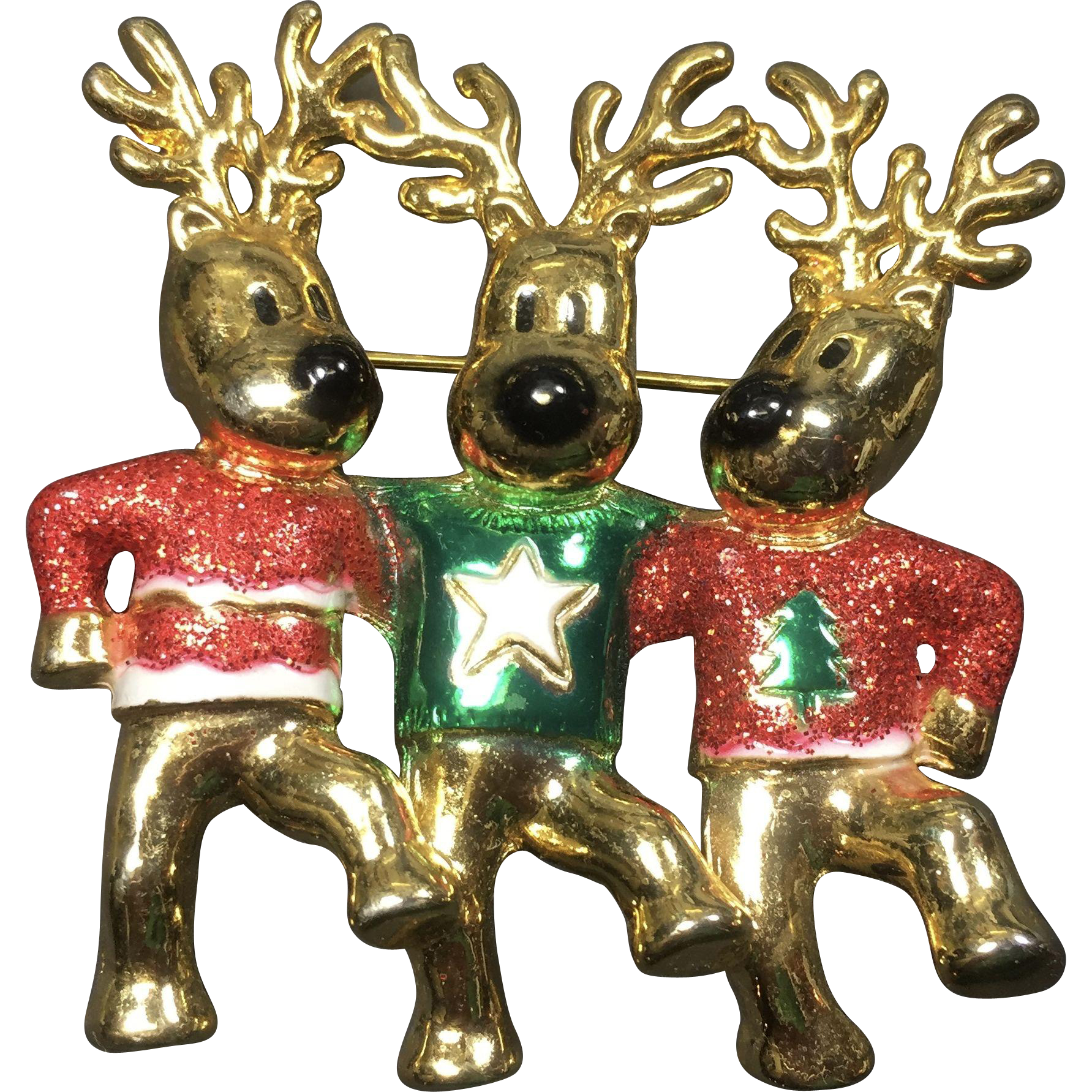 AJC Dancing Christmas Reindeer Pin