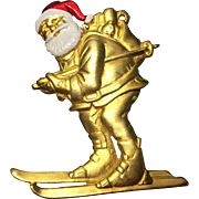 Vintage Santa Skiing Brooch by JJ Christmas Pin