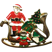 Unusual Christmas Sleigh Pin w/ Removable Enamel Earrings