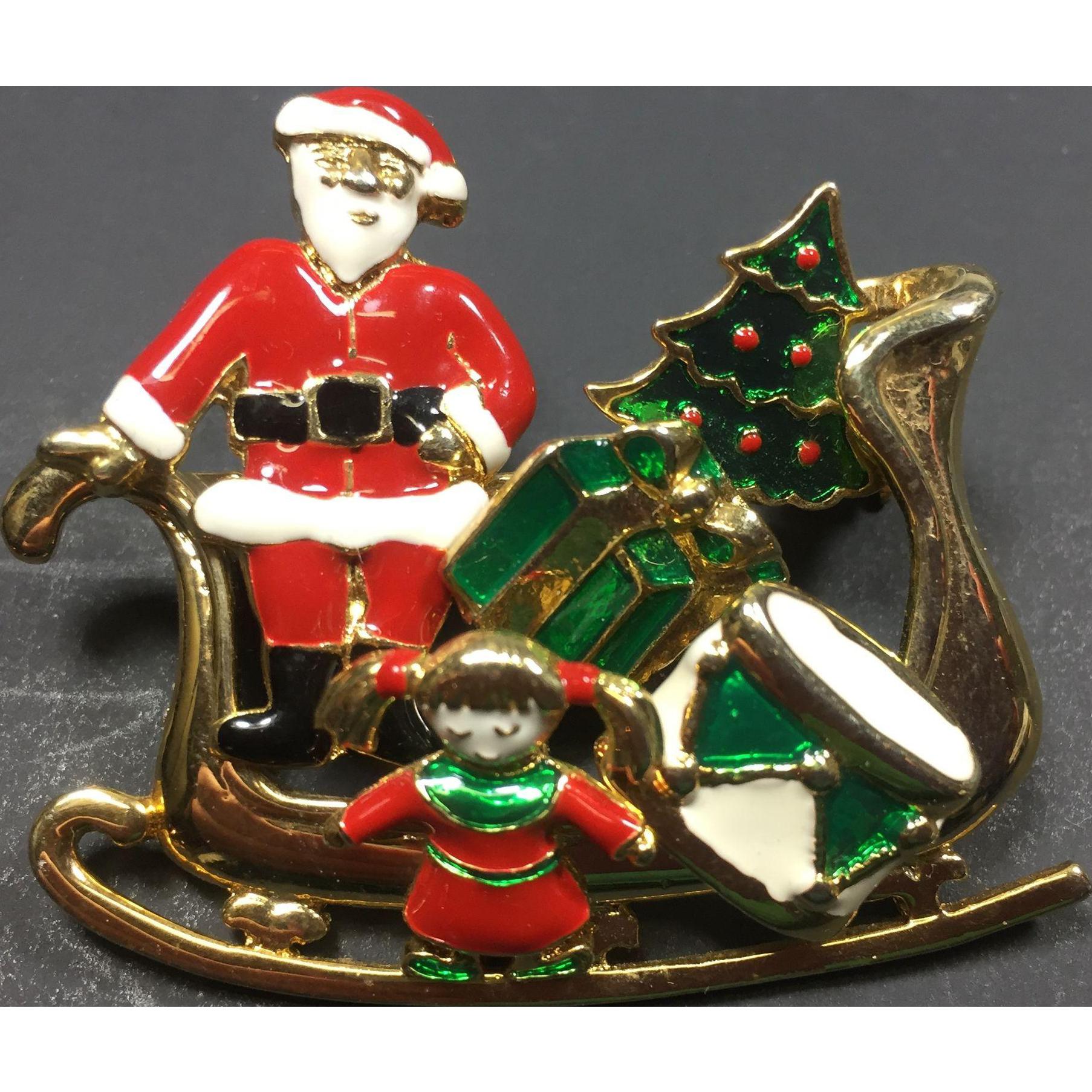 Unusual Christmas Sleigh Pin w/ Removable Enamel Earrings